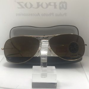 BNIB Rayban Cockpit 3362 Gold with Brown lenses